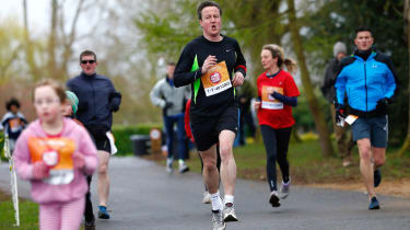 OXFORD, ENGLAND - MARCH 23: Britain's Prime Minister David Cameron takes part in the Sport Relief Mile run for charity on March 23, 2014 in Oxford, England. (Photo by Eddie Keogh - WPA Pool/G