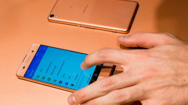 BARCELONA, SPAIN - FEBRUARY 22:A new Sony Xperia X device is seen on the opening day of the World Mobile Congress at the Fira Gran Via Complex on February 22, 2016 in Barcelona, Spain. The an