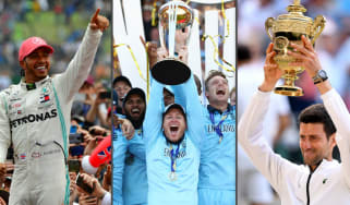 Hamilton celebrates his British GP win, Morgan lifts the Cricket World Cup and Djokovic holds the Wimbledon trophy