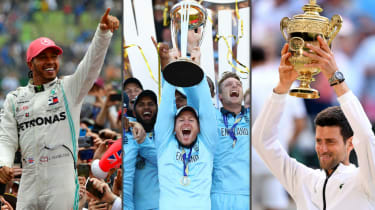 Hamilton celebrates his British GP win, Morgan lifts the Cricket World Cup and Djokovic holds the Wimbledon trophy