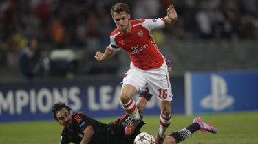 Aaron Ramsey rides a challenge at the Ataturk Olympic Stadium in Istanbul