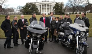 Donald Trump talks with Harley Davidson executives at the White House in 2017