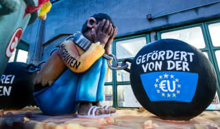 A float satirising the EU refugee crisis at this year's Rose Monday parade in Dusseldorf