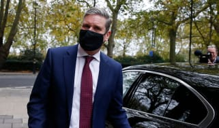 Keir Starmer leaves Millbank studios in central London.