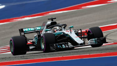 Mercedes driver Lewis Hamilton finished third at the 2018 F1 United States Grand Prix