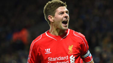 Steven Gerrard of Liverpool celebrates after scoring during the match between Leicester City and Liverpool