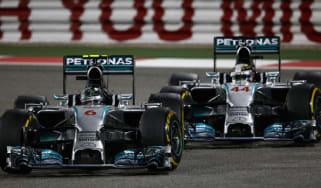 F1 Mercedes team-mates Nico Rosberg and Lewis Hamilton