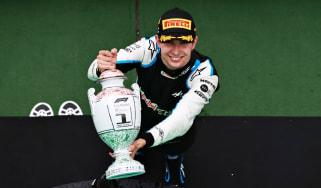 Alpine driver Esteban Ocon celebrates his win at the Hungarian Grand Prix