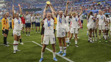 Megan Rapinoe leads the US celebrations after their win in the Fifa Women's World Cup final