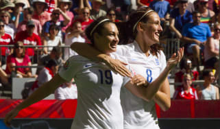 VANCOUVER, BC - JUNE 27: Jodie Taylor #19 of England celebrates her goal against Canada with teammate Jill Scott #8 during the FIFA Women's World Cup Canada 2015 Quarter Final match between t