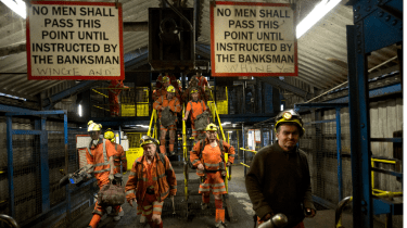 Miners pictured after their last shift at Kellingley Colliery, the UK's last deep coal mine, on 18 December 2015 in Knottingley, England