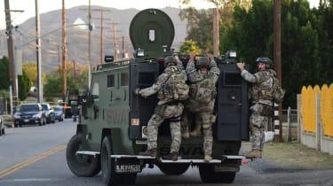 Swat police arrive at San Bernardino shooting