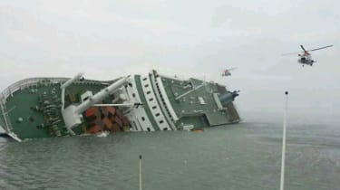 Sewol ferry after tipping