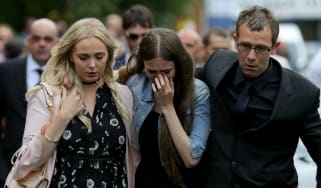 The family of Lisa Lees, who died in the attack, arrive for her funeral