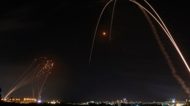 Israel's 'Iron Dome' defence system is launched in response to rockets fired from Gaza