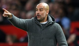 Man City manager Pep Guardiola reacts during the Manchester derby win against Man Utd