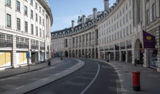 An empty Regent Street in London in March 2020