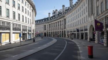 An empty Regent Street in London in March 2020