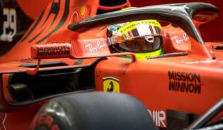 Mick Schumacher tested the Scuderia Ferrari SF90 at Bahrain International Circuit on 2 April