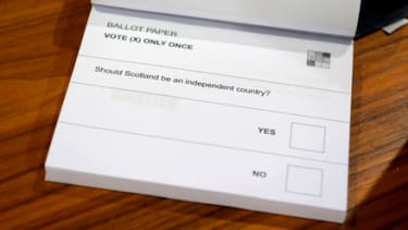 A ballot paper is pictured at a polling station before the start of voting in Edinburgh, Scotland, on September 18, 2014, during a referendum on Scotland's independence. Scotland began voting