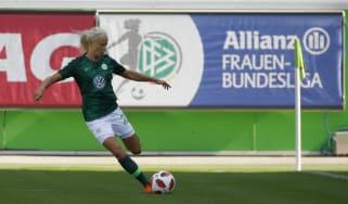 Denmark international Pernille Harder in action for Wolfsburg in the Allianz Frauen Bundesliga