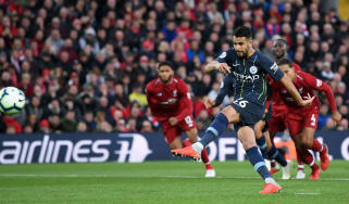 Riyad Mahrez penalty Liverpool 0 Man City 0 Premier League