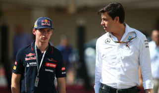 Red Bull driver Max Verstappen and Mercedes team principal Toto Wolff