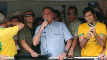 Brazil's president Jair Bolsonaro speaks to supporters during a demonstration on Brazil's Independence Day on 7 September 2021 in Sao Paulo, Brazil