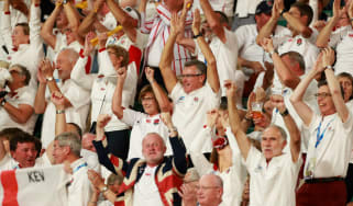 England fans celebrate a try at the Rugby World Cup in Japan