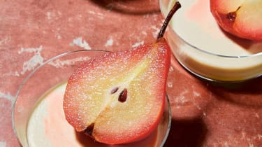 Saffron panna cotta pots and poached pears recipe