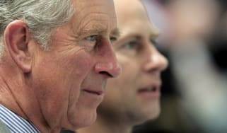Prince Charles and Prince Edward looking into the distance