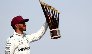 Lewis Hamilton celebrates winning Canadian grand Prix