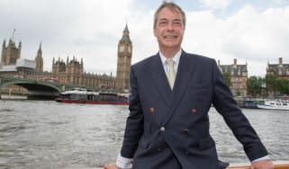 Ukip leader Nigel Farage shows his support for the Leave campaign on a Brexit flotilla on the Thames...
