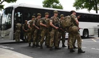 Soldiers at New Scotland Yard
