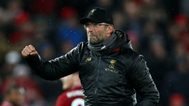 Liverpool manager Jurgen Klopp celebrates his side's 3-1 win against Manchester United