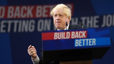 Boris Johnson during his party conference speech in Manchester