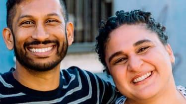 Home Cooking podcast hosts Hrishikesh Hirway and Samin Nosrat