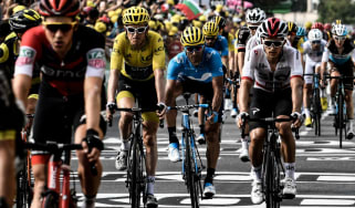 Team Sky's Geraint Thomas (yellow jersey) rides in the 18th stage of the Tour de France