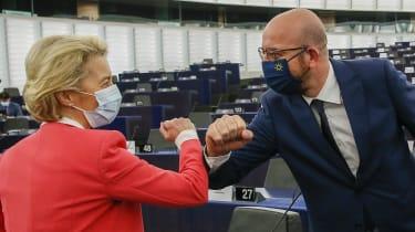 European Council President Charles Michel greets European Commission President Ursula von der Leyen