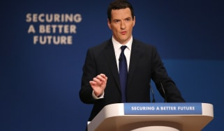BIRMINGHAM, ENGLAND - SEPTEMBER 29:Chancellor of the Exchequer George Osborne addresses the Conservative party conference on September 29, 2014 in Birmingham, England. The second day of confe