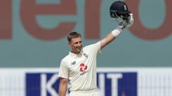 England's Joe Root celebrates his double century against India
