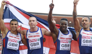 Team GB's winning 4x100m relay team