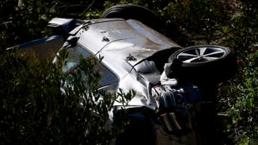 Tiger Woods's vehicle after the crash in Rancho Palos Verdes, California (Patrick T. Fallon/AFP via Getty Images)
