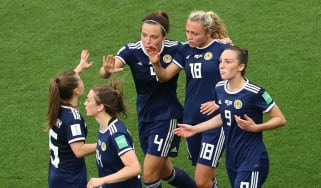 Scotland players celebrate Claire Emslie's goal against England in the Fifa Women's World Cup