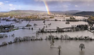 Flooded fields in Herefordshire