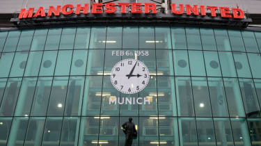 A clock at Man Utd's Old Trafford stadium commemorates the 1958 Munich air disaster