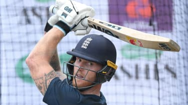 England all-rounder Ben Stokes bats in the nets ahead of the fourth Ashes Test at Old Trafford