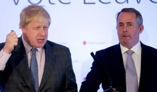 BRISTOL, ENGLAND - MAY 14:Conservative MP Boris Johnson (L) and Conservative MP and former Secretary of State for Defence Liam Fox speak at a Vote Leave event on May 14, 2016 in Bristol, Engl