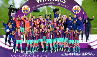 Barcelona captain Vicky Losada lifts the Uefa Women's Champions League trophy