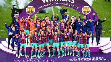 Barcelona captain Vicky Losada lifts the Uefa Women's Champions League trophy